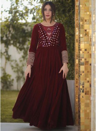 girl in Royal Maroon Anarkali Suit