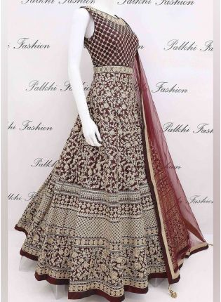 Bottle Green Color Georgette Base With Heavy Embroidery Work Designer Gown With Dupatta
