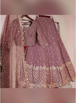 Trendy Lilac Color Georgette Base With Embroidery Work Designer Look Flared Lehenga Choli