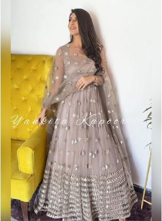 Charming Look Grey Color Soft Net With Heavy Work Flared Designer Gown