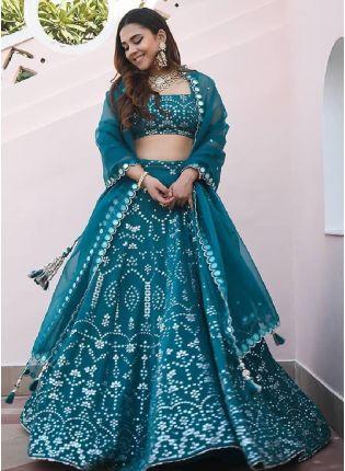 Fantastic Turquoise Color Georgette Base Wedding Wear Embroidered Designer Lehenga Choli