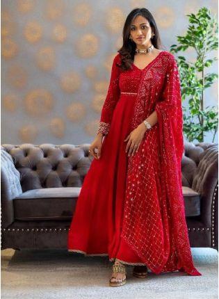 Eye-captivating Red Color Georgette Base Embroidered Anarkali Suit
