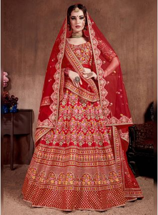 Buy Splendid Red Colored Silk Bridal Designer Embroidered Lehenga Choli
