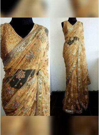 Buy Designer Party Wear Beige Color Net Base Saree