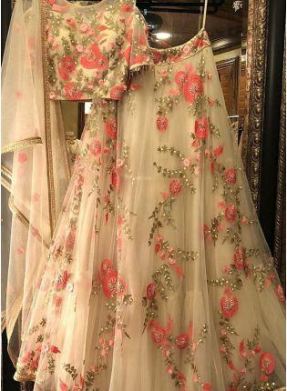 Best Cream Net Base Designer Embroidery Work Lehenga Choli For Wedding