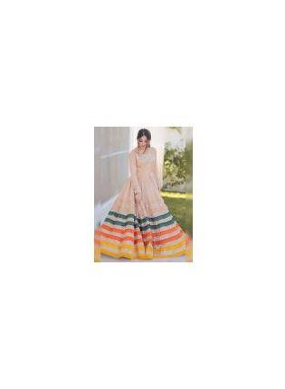 Fairy Look Beige Color Designer Gown