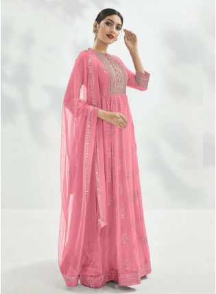 Pink Color Georgette Fabric Sequins Work Gown With Dupatta