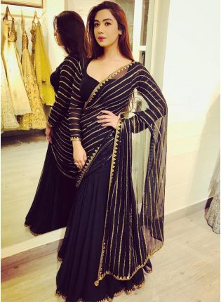 Iconic Party Wear Black Color Georgette Base Designer Saree