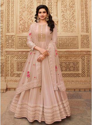 Graceful Peach Color With Floor length Suit Salwar Kameez