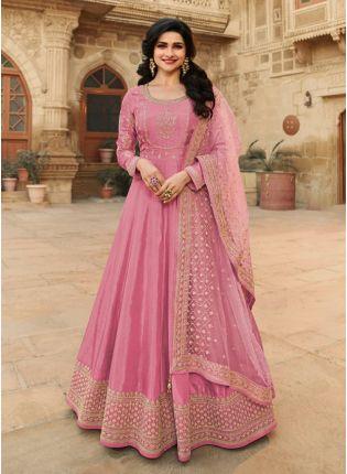 Gorgeous Pink Color With Floor Length Suit Salwar Kameez