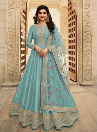 Sky Blue Color With Floor Length Suit Salwar Kameez