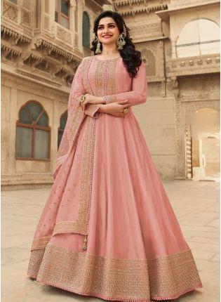 Peach Pink Color With Floor Length Suit Salwar Kameez