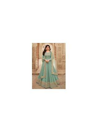 Dusty Green Color With Floor Length Suit Salwar Kameez