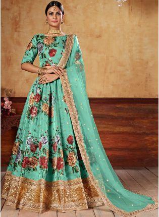 Beautiful Turquoise Color Art Silk Base Lehenga Choli