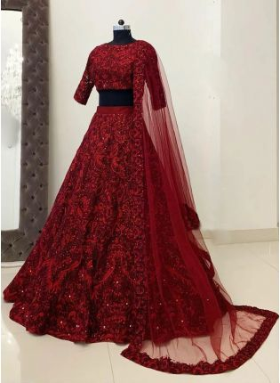 Top Stylish Maroon Resham Work Detailed Lehenga Choli