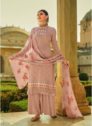 Admirable Peach Color With Heavy Embroidered Salwar Kameez