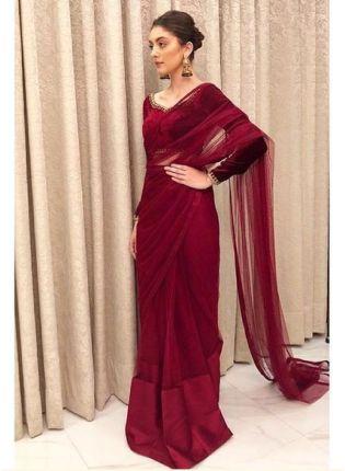 Glamorous Maroon Color Soft Net Bollywood Saree