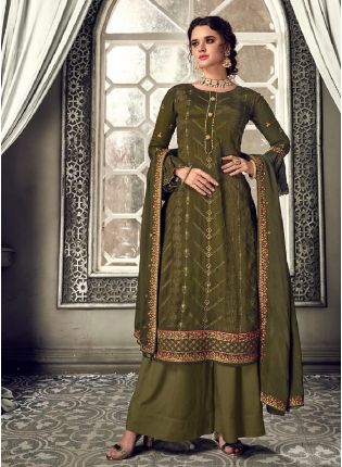 Stunning Dark Green Color With Heavy Embroidery Work Salwar kameez