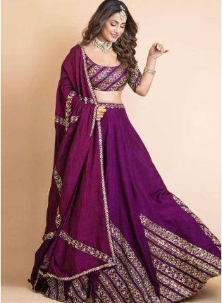 Exquisite Purple Color Taffeta Silk Base Bollywood Lehenga Choli