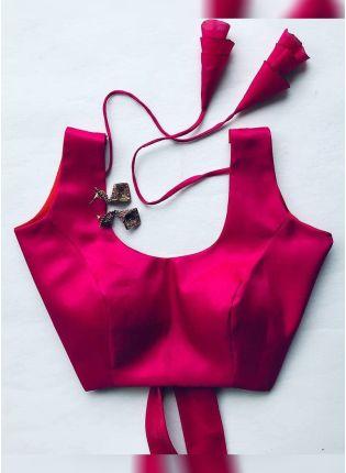 Buy Rani Pink Color Designer Silk Base Blouse