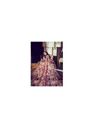Trendy Multi Color Digital Print Tafetta Silk Designer Ceremonial Gown