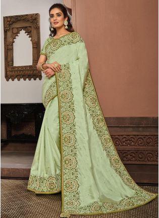 Silk Fabric Lime Green Color Resham And Gota Work Designer Saree