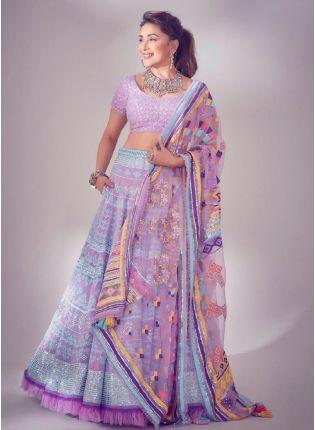 Attractive Purple Color with Soft Net Base Lehenga