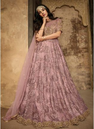 Attractive Purple Color With Soft Net Base Gown