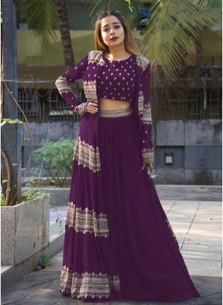 Exquisite Purple Color Jacket Style Lehenga