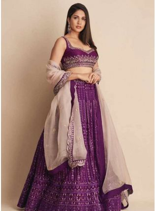 Marvelous Purple Color Flared Lehenga Choli
