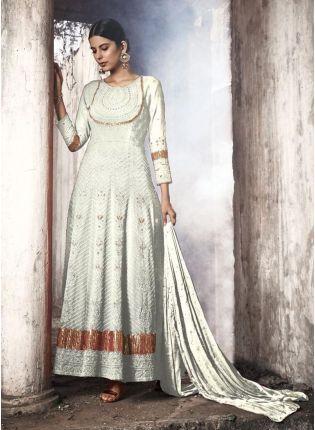 Duck White Georgette Anarkali Suit