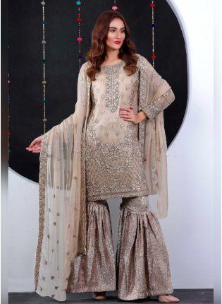 Decent Cream Color Salwar Kameez With Georgette Base