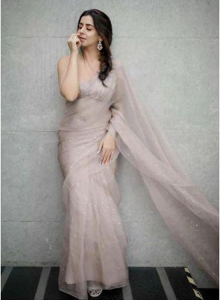 Festive Look  Beige Color Organza Saree with Silk Waving