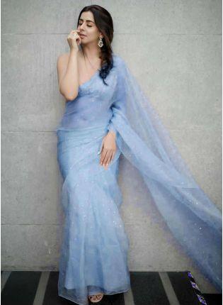 Festive Look  Blue Color Organza Saree with Silk Waving