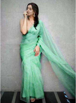 Festive Look  Green Color Organza Saree with Silk Waving