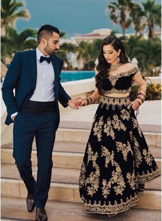 Top Black Color Designer Wedding Wear Velvet Base Lehenga Choli