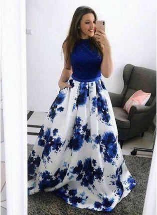 Shop Blue And White Designer Floral Printed Lehenga Choli