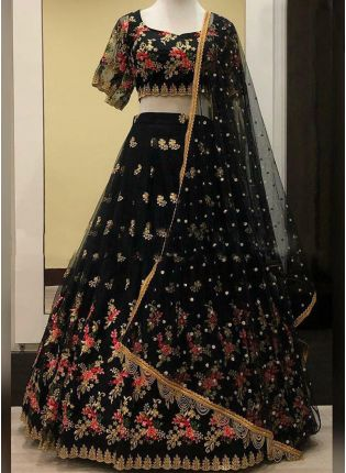 Shop Fantastic Black Soft Net Base Embroidered Lehenga Choli