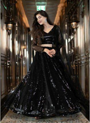 Shop Unbeatable Black Soft Net Base Sequin Work Lehenga Choli