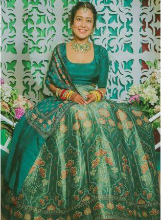 Shop Phenomenal Rama Green Satin Base Digital Printed Lehenga Choli