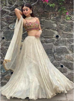 girl in Off White Stone Mirror Work Lehenga Choli Set