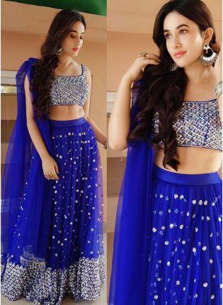 Stunning Blue Sequined Soft Net Flared Lehenga Choli Set