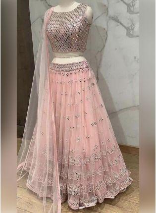 Peach Color Soft Net Base Embroidery And Sequins Work Flared Lehenga Choli