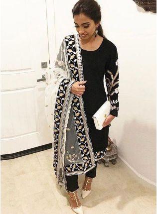 Iconic Black Color Stylish Tafetta Silk Base Designer Salwar Kameez Suit