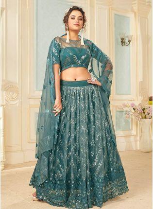 Brilliant Turquoise Color With Soft Net Base Lehenga choli