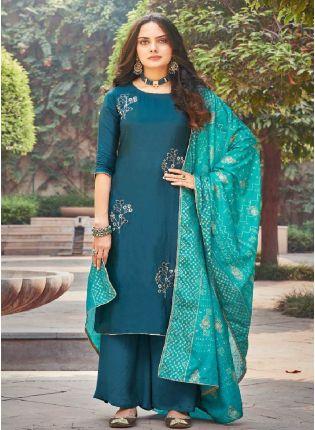 Decent Blue color With Silk Base Palazzo Suit