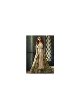 Glamorous Green Color Embellished Designer Gown