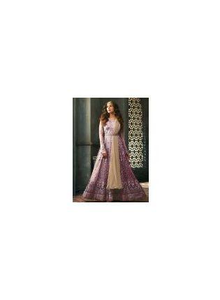 Elegant Purple Color Soft Net Base Designer Gown