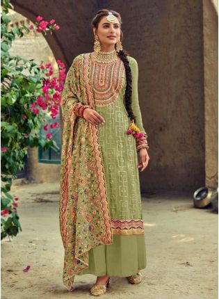 Pleasant Green color Punjabi Suit With Embroidery Georgette Base