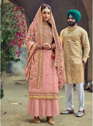 Pastel Pink Color Punjabi Suit With Embroidery Georgette Base
